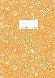 HERMA 19405 Heftumschlag DIN A4 SCHOOLYDOO, Hefthülle mit Beschriftungsetikett, aus strapazierfähiger und abwischbarer Polypropylen-Folie, Heftschoner für Schulhefte, orange