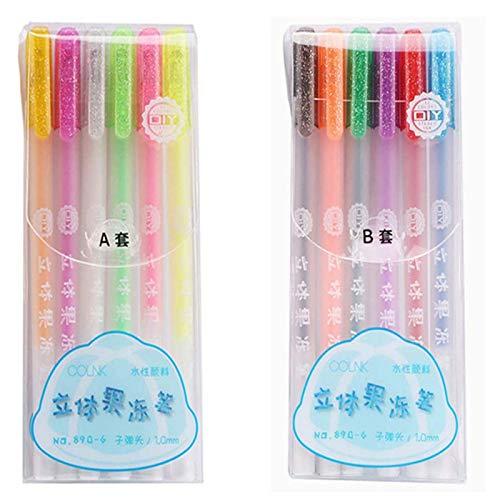 6/12 Pcs Popular 3d Jelly Pen Set, Sparkled Assorted Colors Gel Pens 1.0mm, Waterproof Fade-proof Diy Drawing Graffiti Art Supplies (A+B)