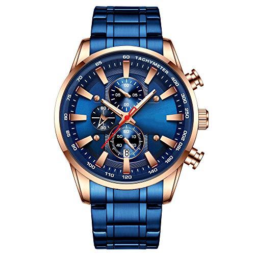 Eantpure Business Casual Reloj,Reloj Impermeable, Reloj de Cuarzo, Reloj de Negocios para Hombres, Reloj con Calendario-E,Impermeable Elegante Relojes