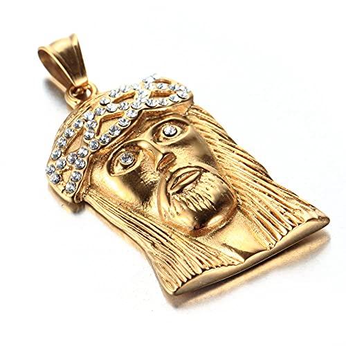 maozuzyy Collar Colgante Joyería Collar De Acero Inoxidable, Joyería para Hombre, Diamante De Moda, Colgante De Acero De Titanio De Jesús