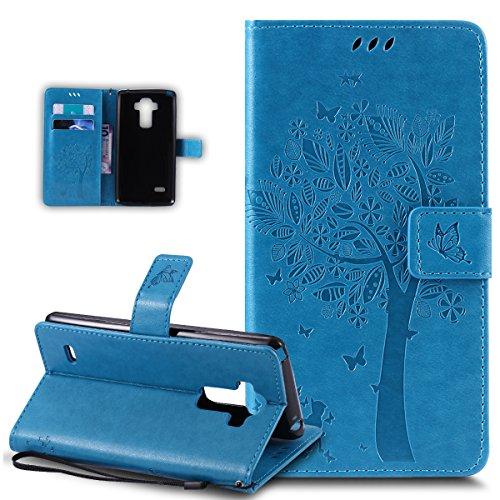 ikasus Coque LG G Stylo LS770 / LG G4 Stylus Etui Gaufrage Embosser Chat papillon Fleur Floral arbre Housse en Cuir PU Etui Housse en Cuir Portefeuille de Protection Flip Case Etui Coque,Bleu