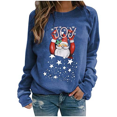 Qiuday Damen Weihnachten Langarm Herbst Winter Lose Bluse Hemd Rundhals T-Shirt...