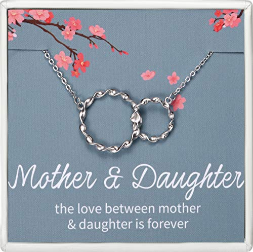 Lalamer Mother Daughter Necklace Sterling Silver Two Interlocking Infinity Double Circles Necklace Birthday Gifts for Women Daughter