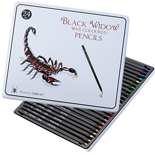 Black Widow Colored Pencils For Adults - 24 Coloring Pencils With Smooth Pigments - Best Color Pencil Set For Adult Coloring Books And Drawing