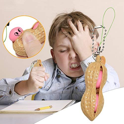 Peanut Keychain Fidget Sensory Toy,Druck ablassen,Böhnchen Anhänger Erdnuss Schlüsselanhänger Kinder Und Adluts Pop Zappeln Spielzeug Für Schlüssel Anti-Stress Entlastende 1/2/3/5pcs (5pc)