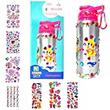 Decorate Your Own Water Bottle for Girls with Rhinestone Glitter Gem and 3D Fun On-Trend Stickers- Girls Toys DIY Arts and Crafts kit for Children Age 4 5 6 7 8 9 10 Years Old, Reusable 20 Oz BPA Free
