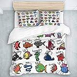 446 HBGDFNBV - Juego de funda de edredón tamaño super king, juego de 3 juegos de cama para niños, acuario de dibujos animados, pulpo, delfín, tiburón, ballena, payaso, peces medusas, cangrejo marino