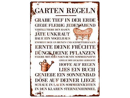 Interluxe WANDSCHILD METALLSCHILD Blechschild Garten Regeln Dekoration Garten Hobby Gärtner