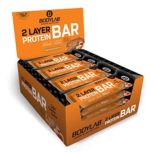 Bodylab24 Tasty Protein Bar (2-Layer) Salted Caramel 12 x 50 g, Protein-Riegel mit 16g Eiweiß pro Riegel, High Protein Low Sugar, Eiweißriegel mit wenig Zucker