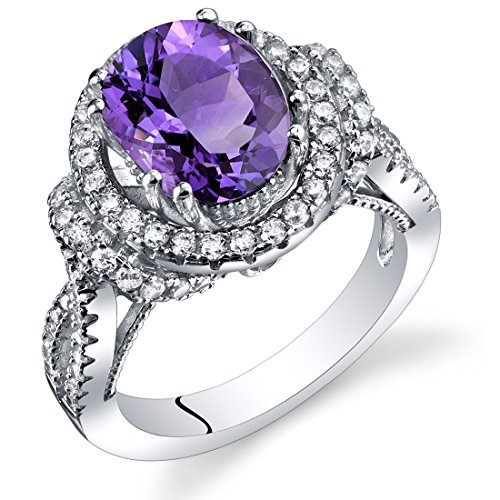 Amethyst Gallery Ring Sterling Silver Oval Shape 2.25 Carats Size 7