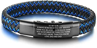 MEALGUET to My Son Inspirational Bracelet Gift from Mom Dad Always Remember You are Braver 2-Tone Braided Leather Bracelet for Teen Boy from Mother in Law Stepmom, Adjustable