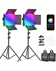 Neewer RGB LED videolamp met app-besturing 360° volledige kleur 50W 660 PRO videoverlichtingsset CRI 97 voor games streaming Zoom YouTube Webex radio webconferentie fotografie