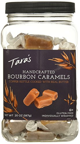 Taras All Natural Handcrafted Gourmet Bourbon Flavored Caramel: Small Batch, Kettle Cooked, Creamy & Individually Wrapped - 20 Ounce