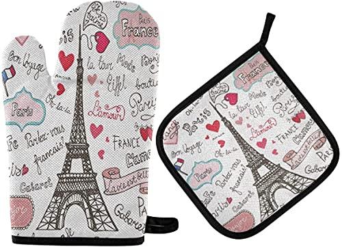 Paris Badges - Juego de 2 piezas para horno de microondas, horno de la torre Eiffel francesa, resistente al calor, para horno de microondas, barbacoa, para hombres y mujeres
