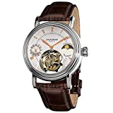 Akribos Mechanical Tourbillon Watch - Skeletonized Face with Automatic Dual-time Moon-Phase (AM/PM indicator) Dial - Limited Edition Genuine Croco-Embossed Calfskin Leather Band - AK493 (Silver/Brown)