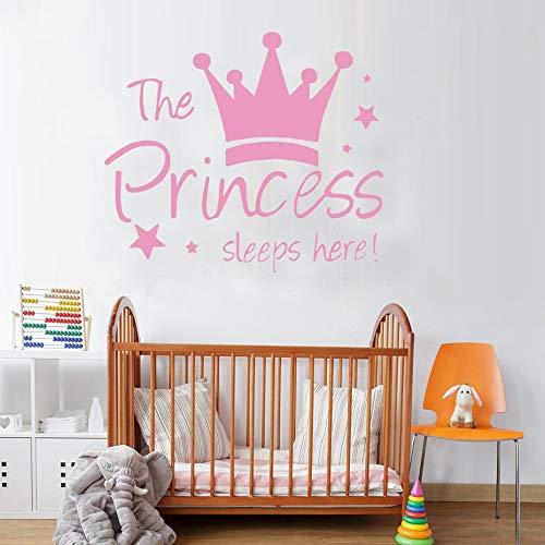 XCSJX Princess is sleeping here wall sticker crown stars wall decals for kids room girl bedroom home decoration vinyl art mural decoration 72x61cm