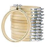 WElinks Stickrahmen-Set, Holz, Kreuzstich, Stickerei, rund, Nähwerkzeug, verstellbar, Bambus, Basteln, für Kunst, Handwerk, Nähen, 12 Stück , 20cm/ 7.8inch