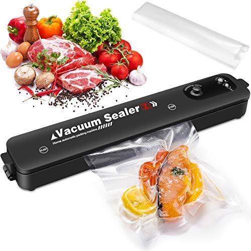 VPOW - Envasadora al vacío automática para alimentos secos y húmedos, máquina de sellado ligera para soldaduras de hasta 28 cm, especial para uso doméstico con 10 bolsas de vacío