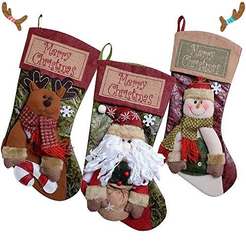 Calza di Natale,Calze di Babbo Natale Sacchetto 3Pcs Calze Natalizie per Riempire e Appendere,Decorazioni Natalizie, Sacchetti di Caramelle (Renna, Babbo Natale, Pupazzo di Neve)