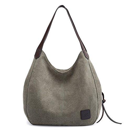 KEEPOP Canvas Hobo Bag Tote Handtasche Shopping Umhängetasche für Frauen Army Green
