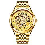 Angela BOS Gold Skeleton Automatic Watch Mens Waterproof Luxury Luminous Military Mechanical Wrist Watch Clock,Colorb
