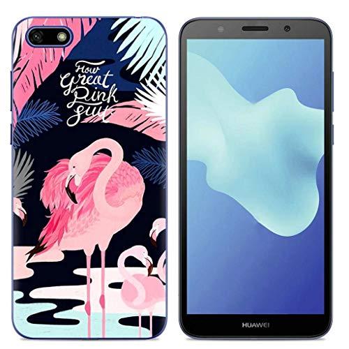 Oujiet-eu LLM Funda para Huawei Y5 Prime 2018 DRA-LX1 DRA-L21 Funda TPU Suave Silicone Carcasa Case Cover 5