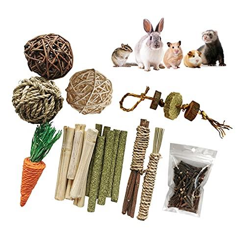 RYUNQ 9PCS Juguetes para Masticar Conejos, Juguete de Conejo, Pastel de Hierba Natural, Juguete de Masticar para Dientes de Molienda para Conejos, para Conejos, Chinchillas, Hámsters, Cobayas