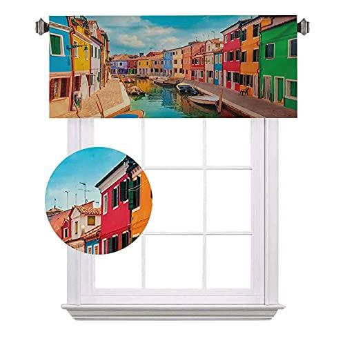Cenefas cortas Venecia, edificios coloridos y canal de agua con barcos Isla Burano en la laguna veneciana, cortinas de ahorro de energía para cortinas de baño, 42 x 12 pulgadas, multicolor