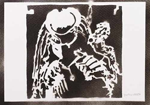 Predator Yautja Poster Plakat Handmade Graffiti Street Art - Artwork