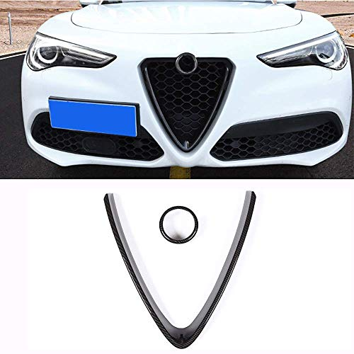 YIWANG Carbon Fiber Style ABS Chrome Front Grill Decoration Frame Trim 2Pcs For Alfa Romeo Stelvio 2017 2018 2019 2020 Auto Accessories (NOT Applicable for Giulia) (Carbon Fiber)