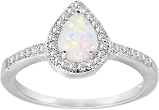 Teardrop Cubic Zirconia Embraced Ring Sterling Silver (Color Options, Sizes 3-13)