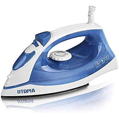 Steam Iron with Nonstick Soleplate - Small Size Light Weight - Best For Travel - Powerful Steam Output - Dry Iron Function 1200 Watt - by Utopia Home (Blue, Steam Iron)