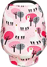 Multi Use Nursing Breastfeeding Cover Scarf, Car Seat Canopy by Busy Monkey, Shopping Cart, High Chair, Stroller and Carseat Covers for Boys and Girls-Infinity Stretchy Shawl, Baby Shower-Llama