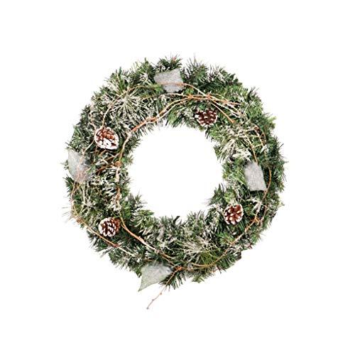 Aqzor Kerst kransen Voordeur Ramen Muur Buiten Vrolijk Kerstversiering Garland Kunstmatige Dennen Ornamenten (Champagne)-Size 60cm(23.62 inct)