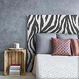 MEGADECOR Cabecero Cama PVC Decorativo Económico Dibujo Cebra Zebra Blanco y Negro Varias Medidas (150 cm x 60 cm)