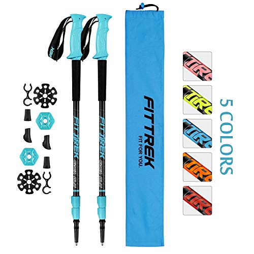 FitTrek Trekking Poles - Carbon Fibre Walking Poles - Hiking poles Telescopic - Lightweight Nordic Walking Pole for Women, Men and Kids with Walking Poles Rubber Tips and Pole Bag, 1 Pair