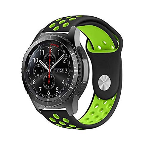 Pulseira 22mm Sport compatível com Samsung Galaxy Watch 3 45mm - Galaxy Watch 46mm - Gear S3 Frontier - Amazfit GTR 47mm - Amazfit GTR 2 - Marca LTIMPORTS (Preto com Verde)