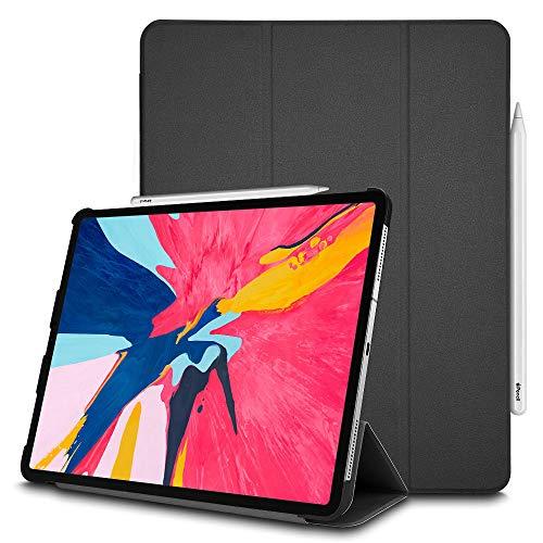 TECHGEAR Hülle iPad Pro 12.9 Zoll 2018 3. Gen [Bleistift-kompatibel] Smart Schlanke Trifold Stand Schutzhülle mit Eckenschutz [Automatische Ruhe/Aufwachfunktion] iPad 12.9 2018 NUR - Schwarz