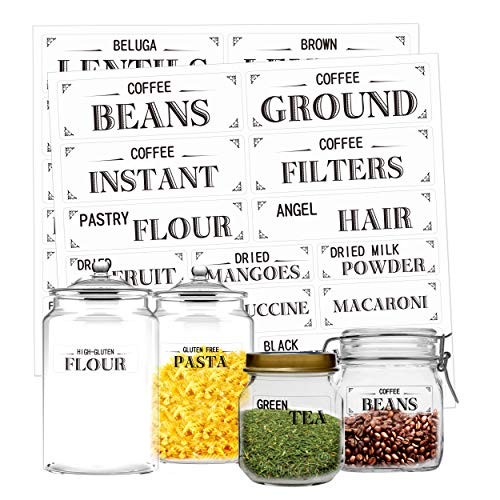 Hebayy Clear Pantry Labels Set for Kitchen Restaurant Storage Organization Water Resistant, 210 Pcs in 7 Sizes for Food Containers, Jars for Flour, Sugar, Coffee