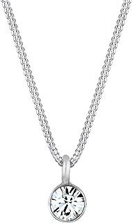 Elli Collares para damas Solitario básico con cristalería en plata esterlina de ley 925