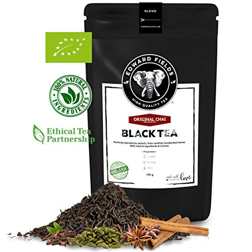 Edward Fields ® Tea - Te Chai negro organico de alta calidad. Te Bio a granel, ingredientes naturales, recolectado a mano, 100g, India.