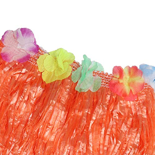 Kurtzy Falda Hawaiana (Paquete de 6) - 42cm Larga Multicolor Paja Hula Faldas con Banda Elástica En La Cintura, Cinta De Cierre de Bucle y Gancho y Flores para Bailarinas, Mujeres, Niñas y Adultos