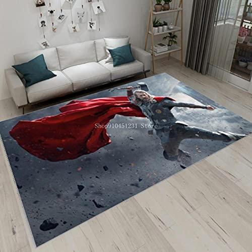 LGXINGLIyidian Alfombra Alfombra Antideslizante Marvel Superhero Iron Man Spiderman Capitán América Dormitorio Sala De Estar Alfombra M-592A 160X230Cm