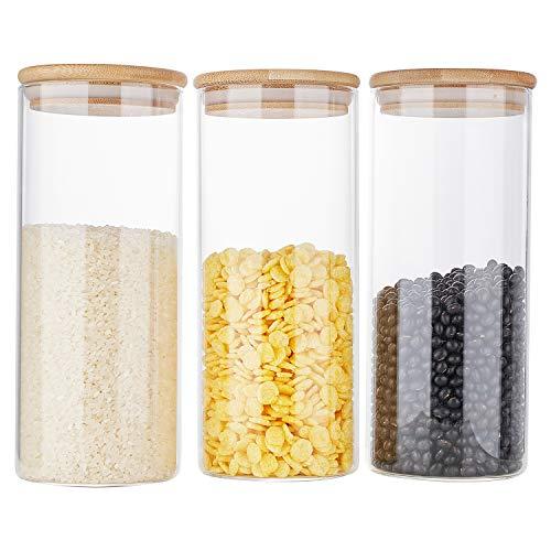 Erreloda Vorratsdosen aus Glas, Vorratsglas mit luftdichtem Bambusdeckel, 3 Stück, Küchenglasdosen für Kaffee, Mehl, Zucker, Süßigkeiten, Kekse, Gewürze und mehr