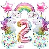 Globos 2 Unicornio Decoración de Cumpleaños Niña, 3D Globos de Aluminio Unicornio Globo 2 Año con Confeti Latex Globos de Cumpleaños para Unicornio Fiesta Decoración de Cumpleaños Niña 2 Años