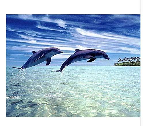 Malen Nach Zahlen Ozean Meer, Weiße Wolken, 2 Delfine DIY Für Erwachsene Wohnkultur-No Frame