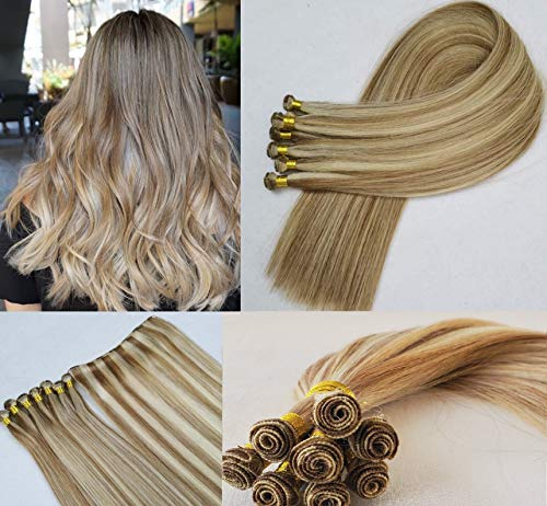 Hair Faux You 22' Hand-Tied Weft Hair, 8 Bundles, 100 grams, Soft Silky Straight,100% Human Remy Weft Hair Extensions #18/613 Dark Blonde mixed with Platinum Blonde