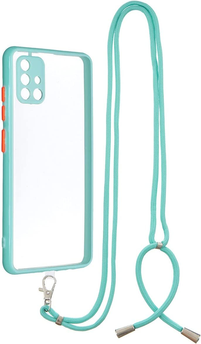 Galaxy A51 Case, Gift_Source Crossbody Lanyard Case Slim Shockproof Soft TPU Bumper Protection & Crystal Clear Hard PC Back Cover with Detachable Neck Strap for Samsung Galaxy A51 (6.5