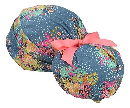 Womens Ponytail Surgical Scrub Hat Adjustable Large (Blush Roses)