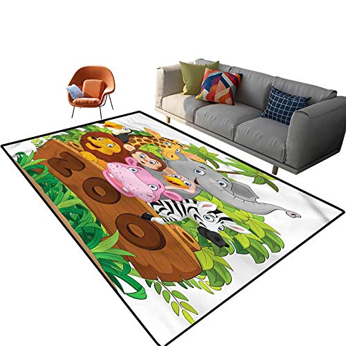 Indoor Room Zoo Area Rugs,5'x 7',Happy Animals Fresh Trees Floor Rectangle Rug with Non Slip Backing for Entryway Living Room Bedroom Kids Nursery Sofa Home Decor